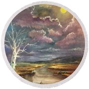Guided By The Moon Round Beach Towel