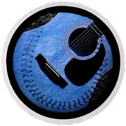 Round Beach Towel featuring the digital art Guitar Blueberry Baseball Square by Andee Design