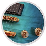 Round Beach Towel featuring the photograph Guitar Blues by Joy Watson