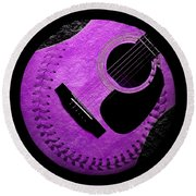 Round Beach Towel featuring the digital art Guitar Grape Baseball Square by Andee Design