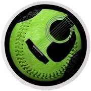 Round Beach Towel featuring the digital art Guitar Keylime Baseball Square  by Andee Design