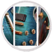 Round Beach Towel featuring the photograph Guitar Life by Joy Watson