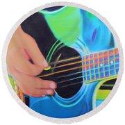 Round Beach Towel featuring the painting Guitar Man by Deborah Boyd