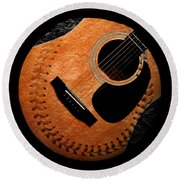 Round Beach Towel featuring the digital art Guitar Orange Baseball Square by Andee Design