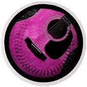 Round Beach Towel featuring the digital art Guitar Raspberry Baseball by Andee Design