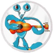 Round Beach Towel featuring the digital art Guitar Rocker by Marvin Blaine