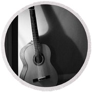 Guitar Still Life In Black And White Round Beach Towel