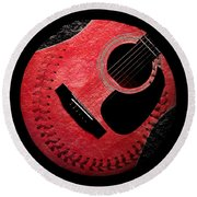 Round Beach Towel featuring the digital art Guitar Strawberry Baseball by Andee Design