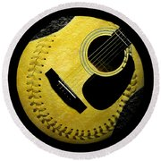 Round Beach Towel featuring the digital art Guitar Yellow Baseball Square by Andee Design