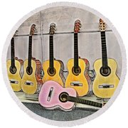 Guitars Round Beach Towel by Erika Weber