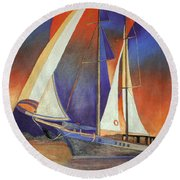 Gulet Under Sail Round Beach Towel
