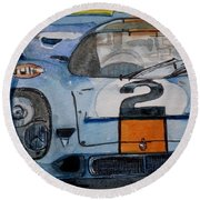 Round Beach Towel featuring the painting Gulf Porsche by Anna Ruzsan