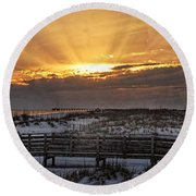 Gulf Shores From Pavilion Round Beach Towel