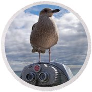 Round Beach Towel featuring the photograph Gull by Mim White