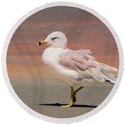 Gull Onthe Beach Round Beach Towel