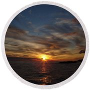 Round Beach Towel featuring the photograph Gull Rise by Bonfire Photography