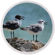 Gull Talk Round Beach Towel by Susan Molnar