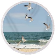 Gulls A Dance'n Round Beach Towel by Diana Angstadt