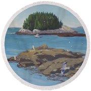 Gulls At Five Islands Round Beach Towel