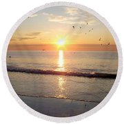 Round Beach Towel featuring the photograph Gulls Dance In The Warmth Of The New Day by Eunice Miller