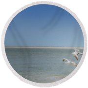 Round Beach Towel featuring the photograph Gulls In Flight by Erika Weber