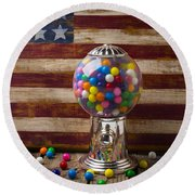 Gumball Machine And Old Wooden Flag Round Beach Towel