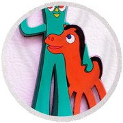 Gumby And Pokey B F F Round Beach Towel by Rob Hans