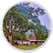 Round Beach Towel featuring the photograph Gumtree Gully by Wallaroo Images