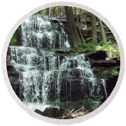 Gun Brook Falls Round Beach Towel