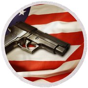 Gun On Flag Round Beach Towel