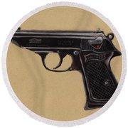 Gun - Pistol - Walther Ppk Round Beach Towel