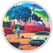 Guys Dolls And Pink Adobe Round Beach Towel by Art James West
