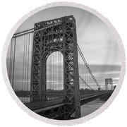 Gw Bridge Winter Sunrise Round Beach Towel