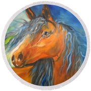 Round Beach Towel featuring the painting Gypsy by Jenny Lee