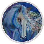 Round Beach Towel featuring the painting Gypsy Shadow by Jenny Lee