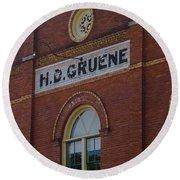 H D Gruene Round Beach Towel