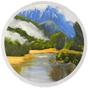 Round Beach Towel featuring the painting Haast River New Zealand by Pamela  Meredith