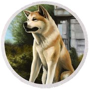 Hachi Painting Round Beach Towel
