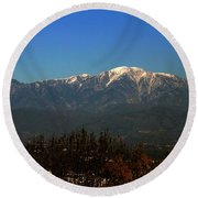 Round Beach Towel featuring the photograph Hacienda Heights And Industry Overlook by Clayton Bruster