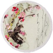 Round Beach Towel featuring the painting Haiga My Spring Too Is An Ecstasy by Peter v Quenter