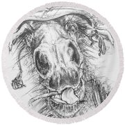 Hair-ied Horse Soilder Round Beach Towel