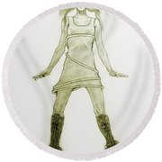 Hairy Boots Round Beach Towel