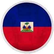Haiti Flag Vintage Distressed Finish Round Beach Towel