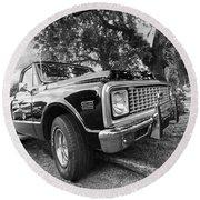 Halcyon Days - 1971 Chevy Pickup Bw Round Beach Towel