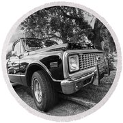 Halcyon Days - 1971 Chevy Pickup Bw Round Beach Towel