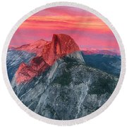 Round Beach Towel featuring the painting Half Dome Sunset From Glacier Point by John Haldane