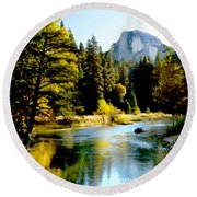 Half Dome Yosemite River Valley Round Beach Towel