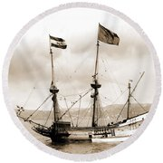 Half Moon Re-entered Hudson River After An Absence Of 300 Years In Sepia Tone Round Beach Towel