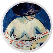 Half Naked Woman With A Hat Round Beach Towel
