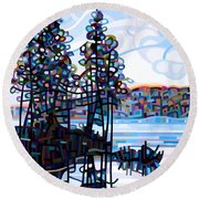 Haliburton Morning Round Beach Towel by Mandy Budan